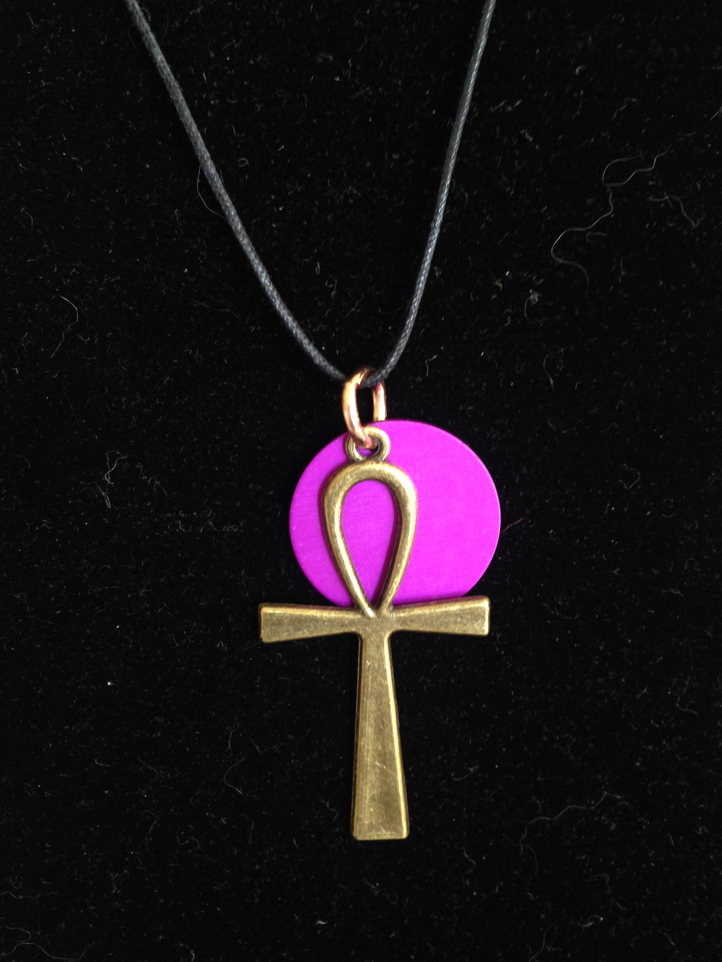 Brass Ankh with Purple Energy Disk